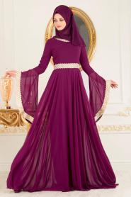 Tesettürlü Abiye Elbise - Dantel Detaylı Fuşya Tesettür Abiye Elbise 2027F - Thumbnail
