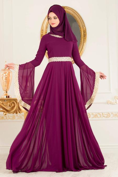 Tesettürlü Abiye Elbise - Dantel Detaylı Fuşya Tesettür Abiye Elbise 2027F