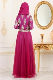 Tesettürlü Abiye Elbise - Dantel Detaylı Fuşya Tesettürlü Abiye Elbise 8217F - Thumbnail