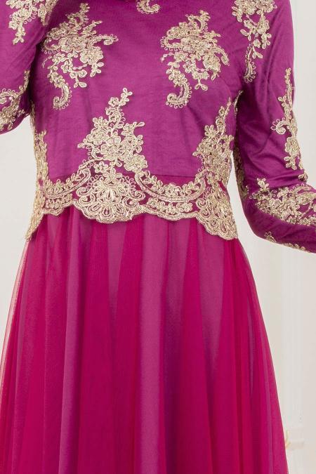Tesettürlü Abiye Elbise - Dantel Detaylı Fuşya Tesettürlü Abiye Elbise 8217F