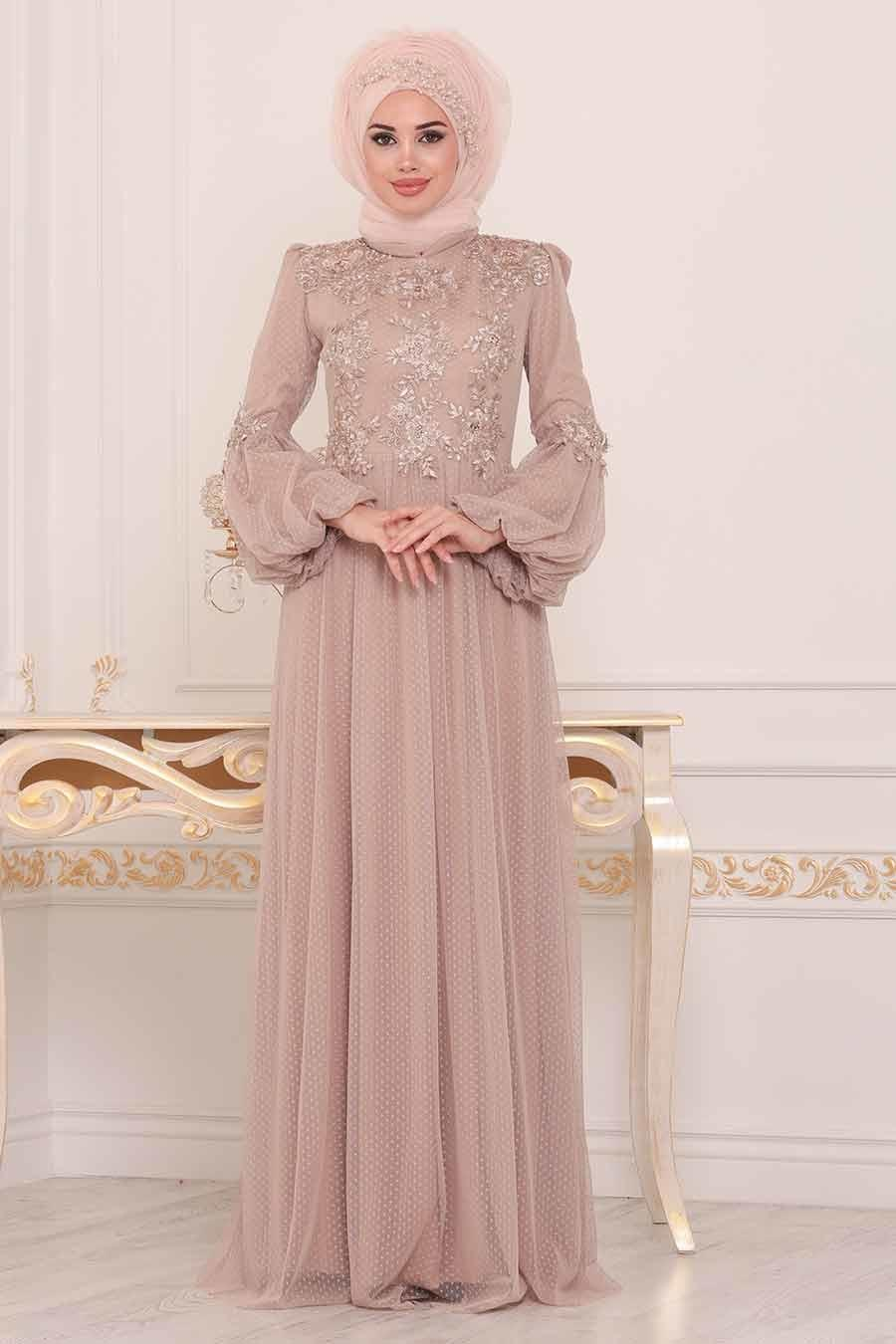 Tesettürlü Abiye Elbise - Dantel Detaylı Gold Tesettür Abiye Elbise 3908GOLD