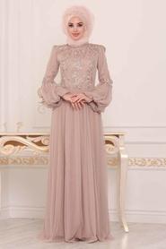 Tesettürlü Abiye Elbise - Dantel Detaylı Gold Tesettür Abiye Elbise 3908GOLD - Thumbnail