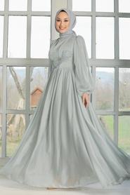 Tesettürlü Abiye Elbise - Dantel Detaylı Gri Tesettür Abiye Elbise 33190GR - Thumbnail
