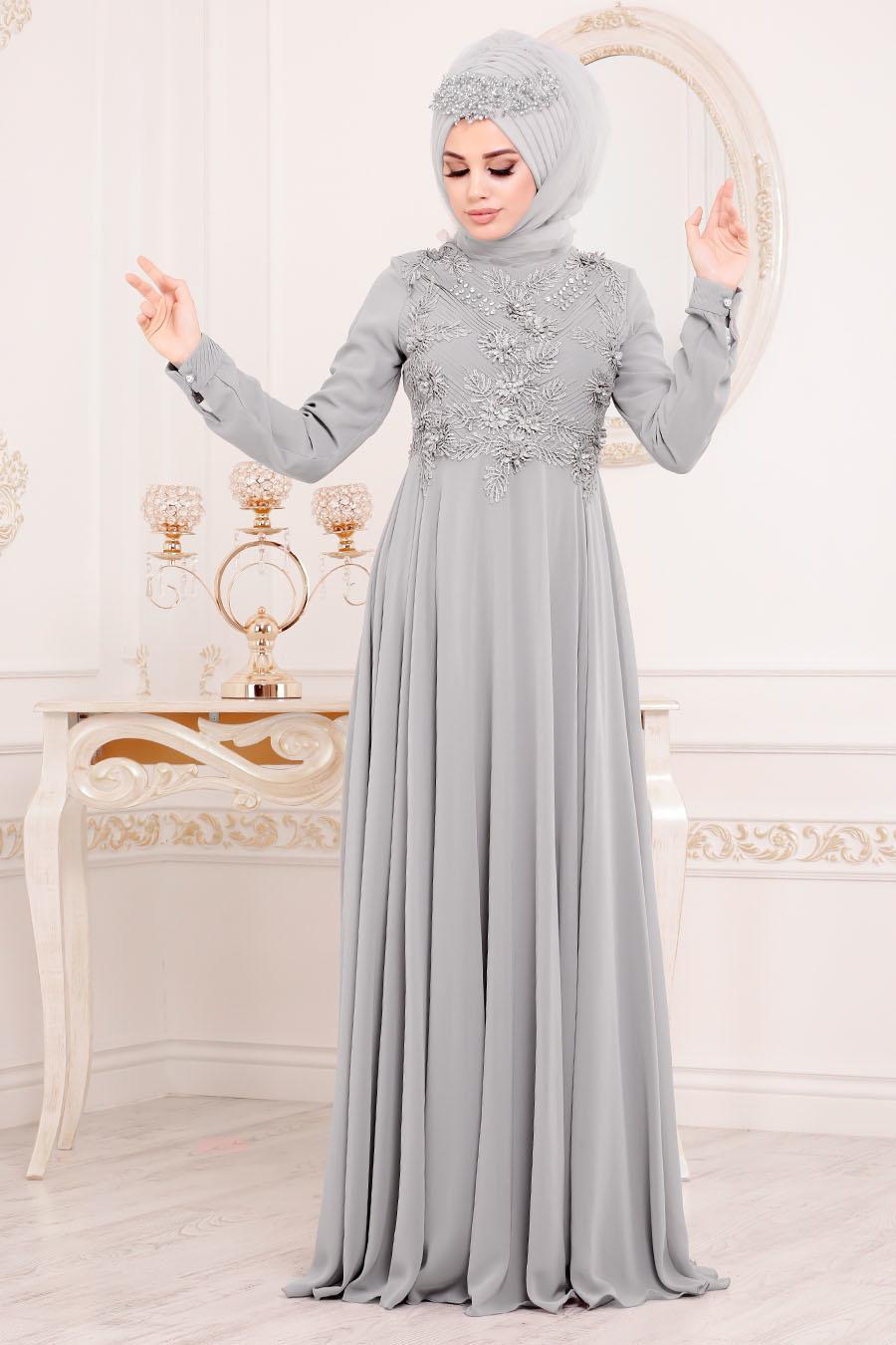 Tesettürlü Abiye Elbise - Dantel Detaylı Gri Tesettür Abiye Elbise 84701GR