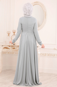 Tesettürlü Abiye Elbise - Dantel Detaylı Gri Tesettür Abiye Elbise 84701GR - Thumbnail