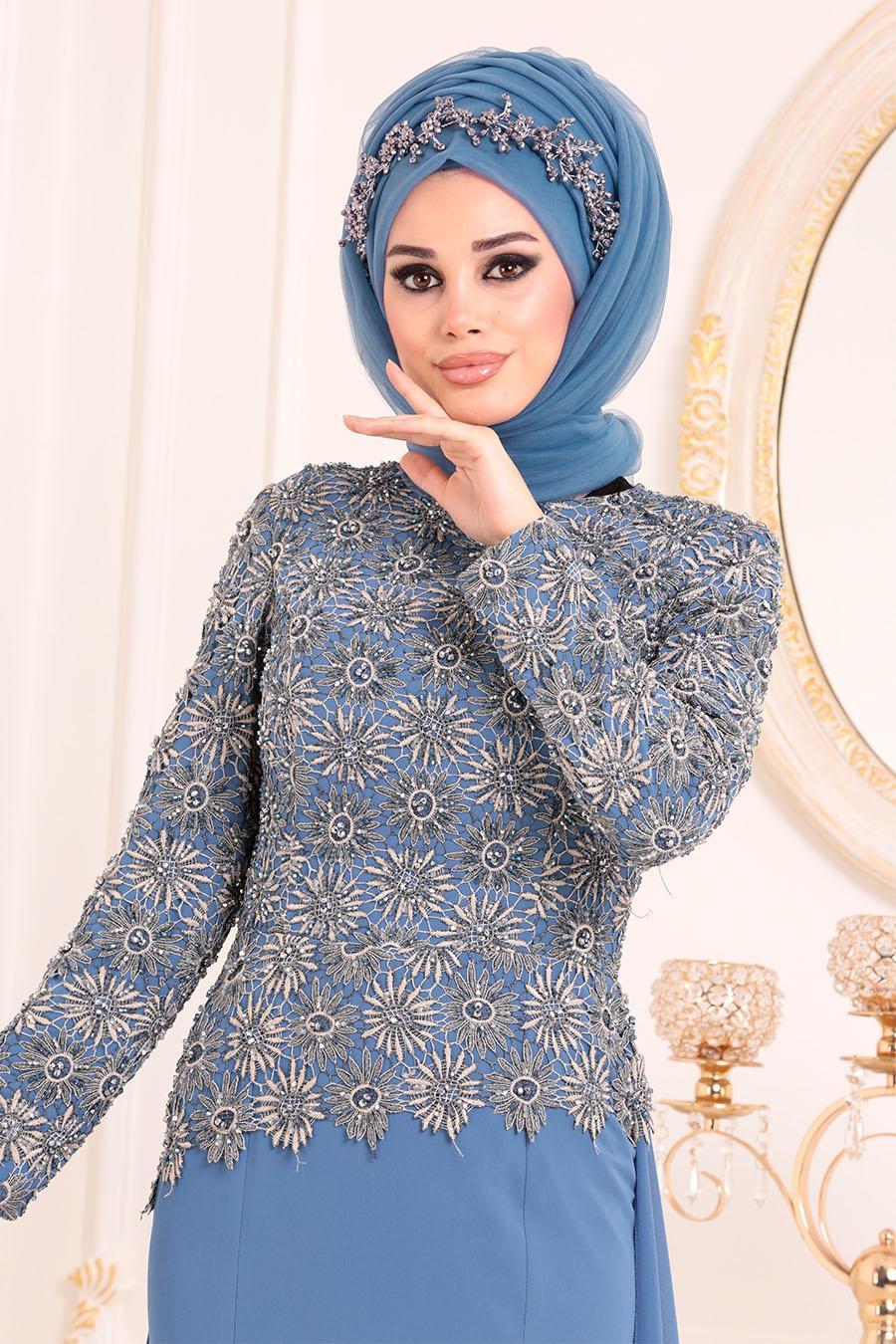 Tesettürlü Abiye Elbise - Dantel Detaylı İndigo Mavisi Tesettür Abiye Elbise 18770IM