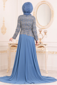 Tesettürlü Abiye Elbise - Dantel Detaylı İndigo Mavisi Tesettür Abiye Elbise 18770IM - Thumbnail