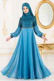 Tesettürlü Abiye Elbise - Dantel Detaylı Mavi Tesettür Abiye Elbise 8241M - Thumbnail