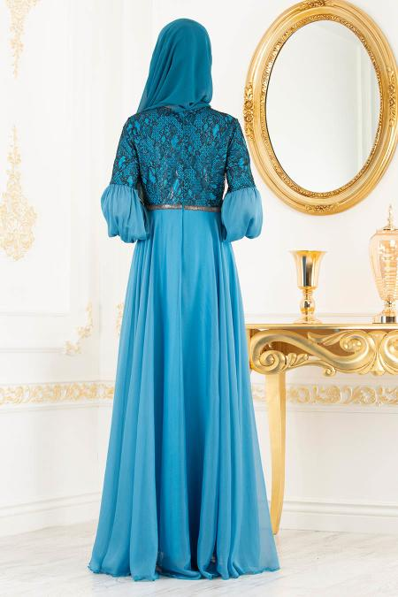 Tesettürlü Abiye Elbise - Dantel Detaylı Mavi Tesettür Abiye Elbise 8241M
