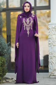 Tesettürlü Abiye Elbise - Dantel Detaylı Mor Tesettür Abiye Elbise 20180MOR - Thumbnail