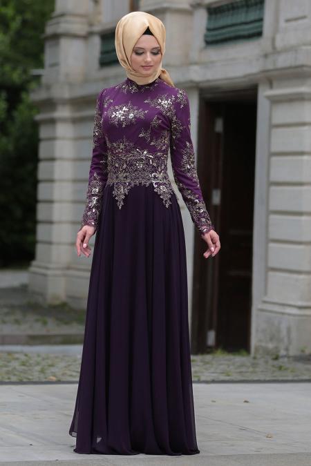 Tesettürlü Abiye Elbise - Dantel Detaylı Mor Tesettür Abiye Elbise 7636MOR