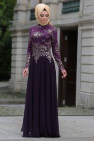 Tesettürlü Abiye Elbise - Dantel Detaylı Mor Tesettür Abiye Elbise 7636MOR - Thumbnail