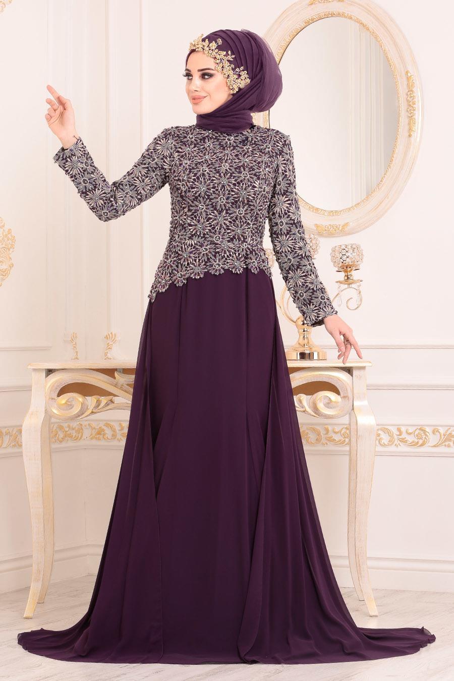 Tesettürlü Abiye Elbise - Dantel Detaylı Mürdüm Tesettür Abiye Elbise 18770MU