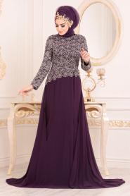 Tesettürlü Abiye Elbise - Dantel Detaylı Mürdüm Tesettür Abiye Elbise 18770MU - Thumbnail
