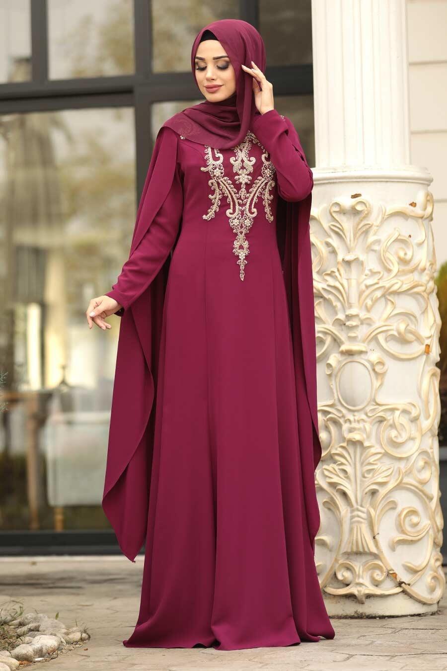 Tesettürlü Abiye Elbise - Dantel Detaylı Mürdüm Tesettür Abiye Elbise 20180MU