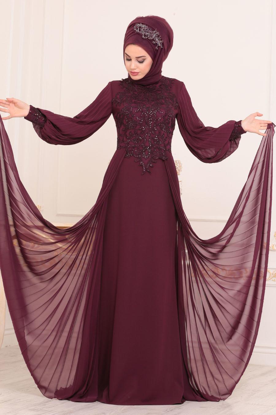Tesettürlü Abiye Elbise - Dantel Detaylı Mürdüm Tesettür Abiye Elbise 46220MU