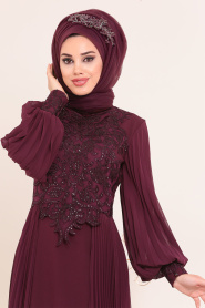 Tesettürlü Abiye Elbise - Dantel Detaylı Mürdüm Tesettür Abiye Elbise 46220MU - Thumbnail