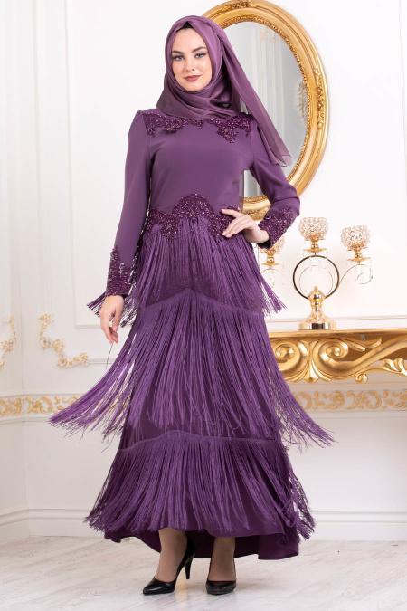 Tesettürlü Abiye Elbise - Dantel Detaylı Püsküllü Mor Tesettür Abiye Elbise 3634MOR