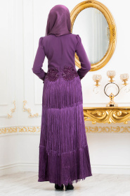 Tesettürlü Abiye Elbise - Dantel Detaylı Püsküllü Mor Tesettür Abiye Elbise 3634MOR - Thumbnail