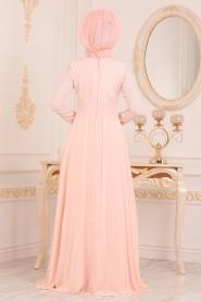 Tesettürlü Abiye Elbise - Dantel Detaylı Somon Tesettür Abiye Elbise 20510SMN - Thumbnail