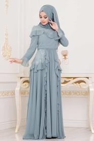 Tesettürlü Abiye Elbise - Dantel Detaylı Turkuaz Tesettür Abiye Elbise 3854TR - Thumbnail