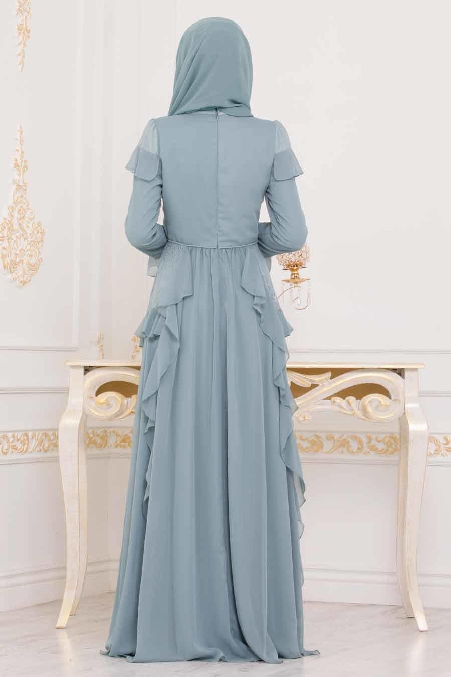 Tesettürlü Abiye Elbise - Dantel Detaylı Turkuaz Tesettür Abiye Elbise 3854TR