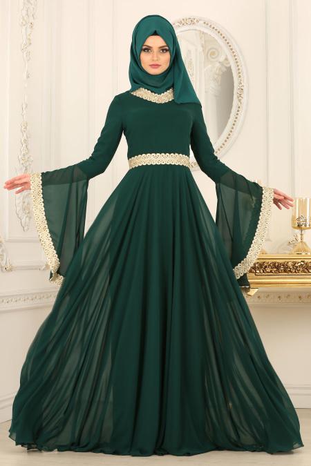 Tesettürlü Abiye Elbise - Dantel Detaylı Yeşil Tesettür Abiye Elbise 2027Y