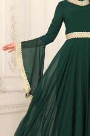 Tesettürlü Abiye Elbise - Dantel Detaylı Yeşil Tesettür Abiye Elbise 2027Y - Thumbnail