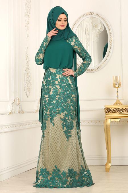 Tesettürlü Abiye Elbise - Dantel Detaylı Yeşil Tesettür Abiye Elbise 42141Y