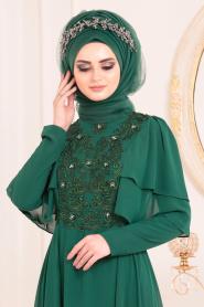 Tesettürlü Abiye Elbise - Dantel Detaylı Yeşil Tesettür Abiye Elbise 8448Y - Thumbnail