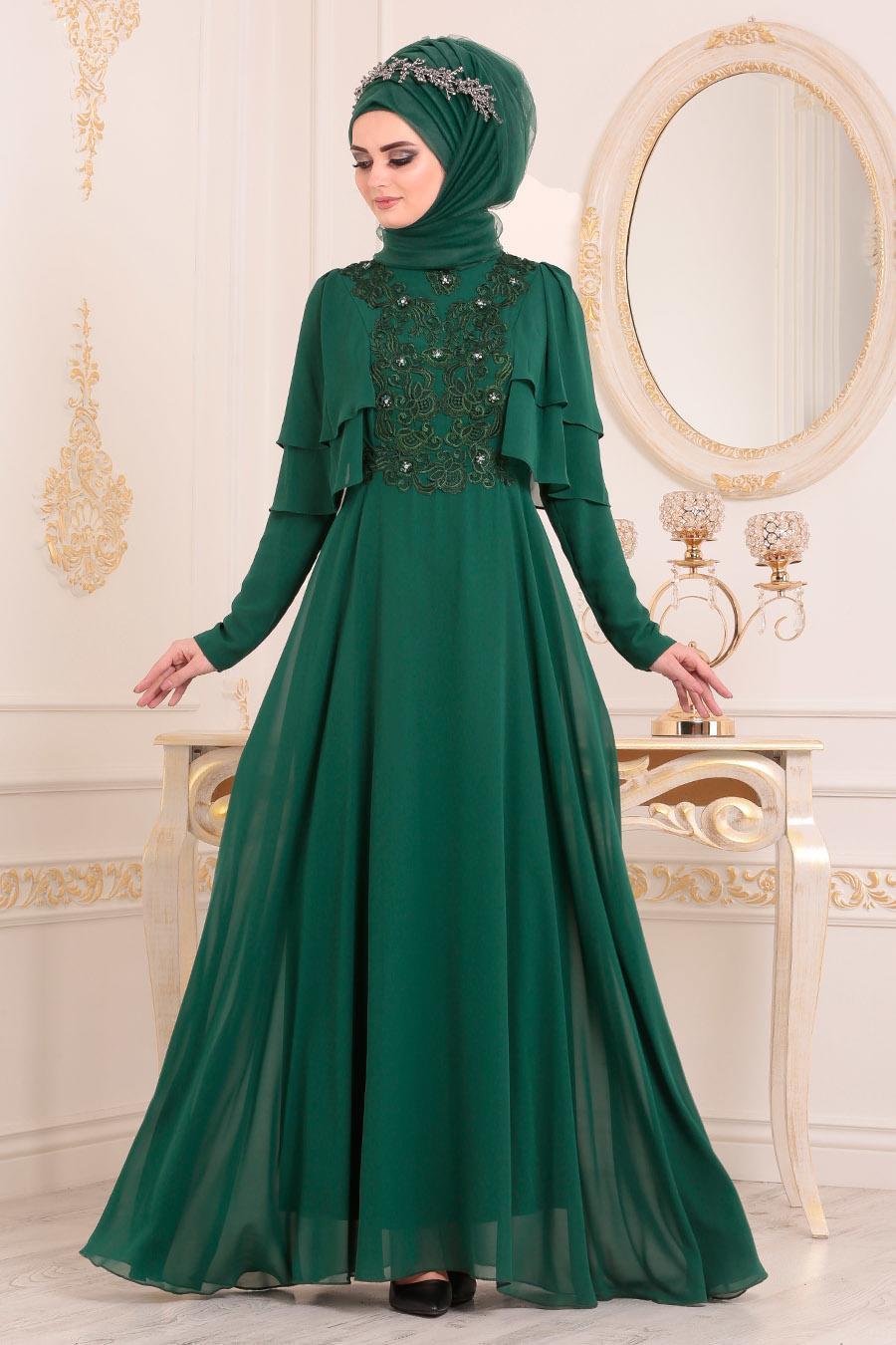 Tesettürlü Abiye Elbise - Dantel Detaylı Yeşil Tesettür Abiye Elbise 8448Y