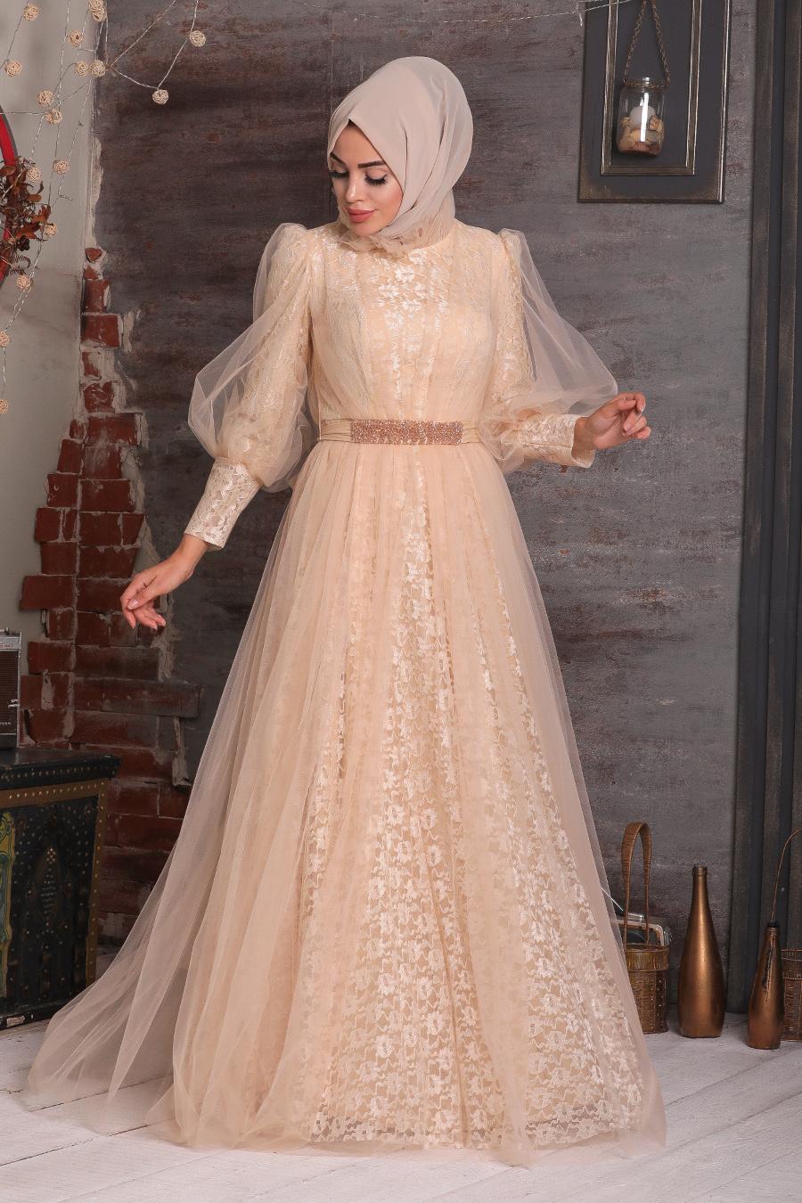 Tesettürlü Abiye Elbise - Dantel İşlemeli Bej Tesettür Abiye Elbise 40440BEJ