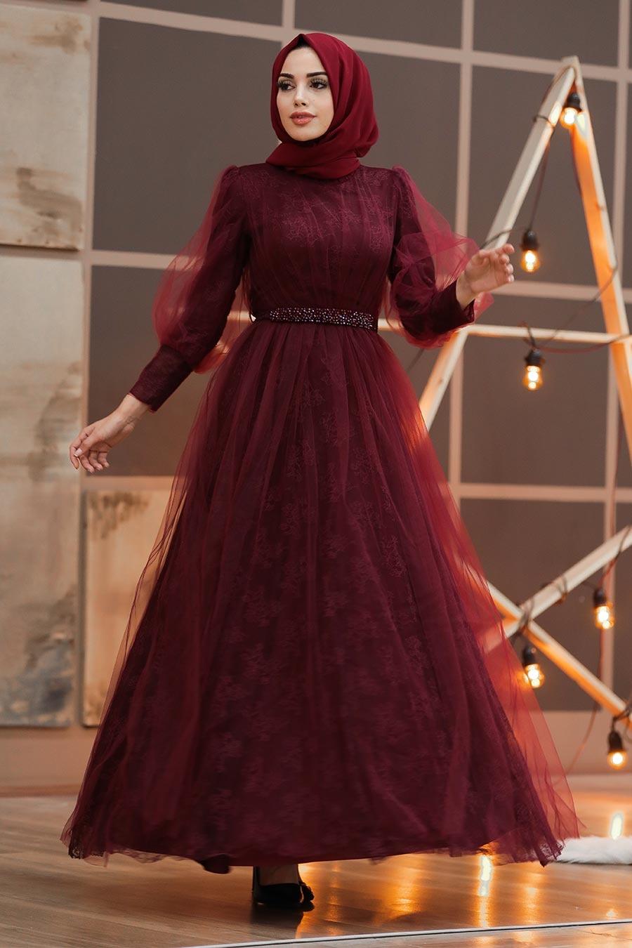 Tesettürlü Abiye Elbise - Dantel İşlemeli Bordo Tesettür Abiye Elbise 40440BR