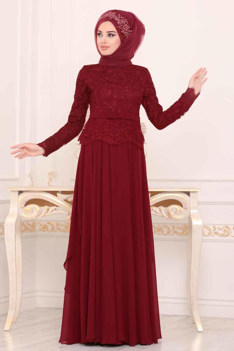 Tesettürlü Abiye Elbise - Dantel İşlemeli Bordo Tesettür Abiye Elbise 86470BR