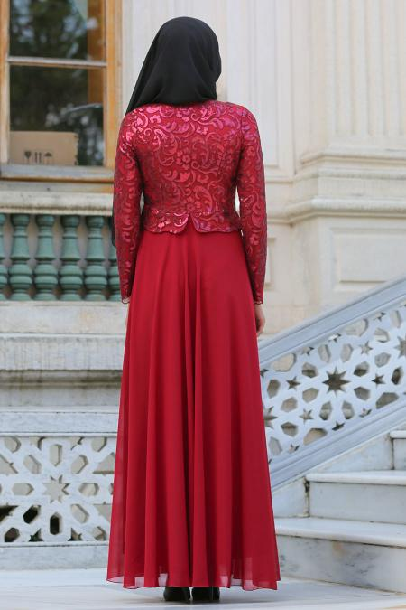 Tesettürlü Abiye Elbise - Dantel İşlemeli Ceket Görünümlü Bordo Tesettür Abiye Elbise 77120BR