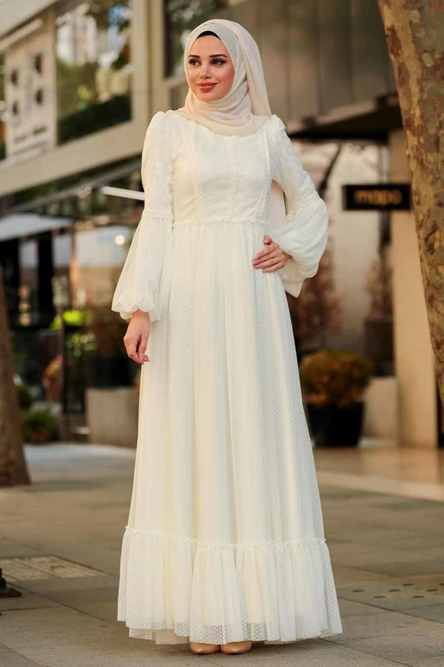 Tesettürlü Abiye Elbise - Dantel İşlemeli Ekru Tesettür Abiye Elbise 3890E