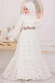 Tesettürlü Abiye Elbise - Dantel İşlemeli Ekru Tesettür Abiye Elbise 40411E - Thumbnail