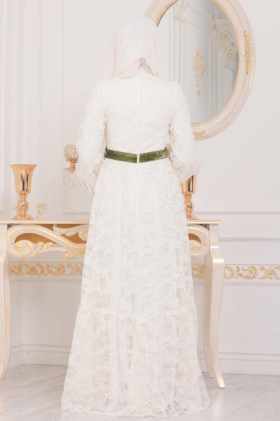 Tesettürlü Abiye Elbise - Dantel İşlemeli Ekru Tesettür Abiye Elbise 40411E