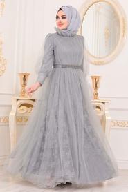 Tesettürlü Abiye Elbise - Dantel İşlemeli Gri Tesettür Abiye Elbise 40440GR - Thumbnail