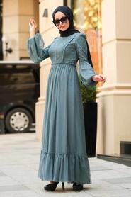 Tesettürlü Abiye Elbise - Dantel İşlemeli İndigo Mavisi Tesettür Abiye Elbise 3890IM - Thumbnail