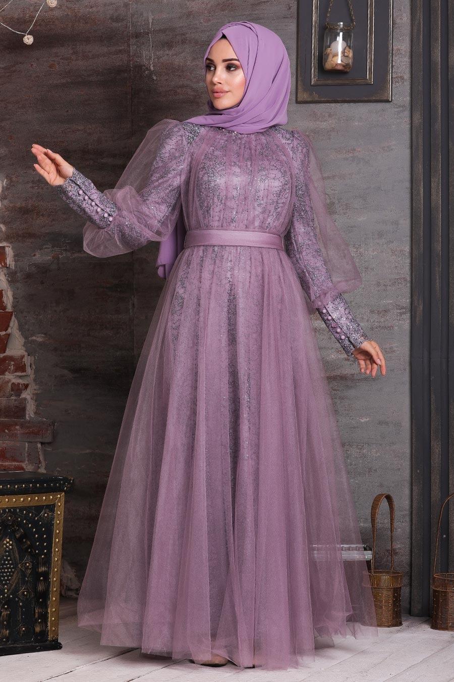 Tesettürlü Abiye Elbise - Dantel İşlemeli Koyu Lila Tesettür Abiye Elbise 21691KLILA