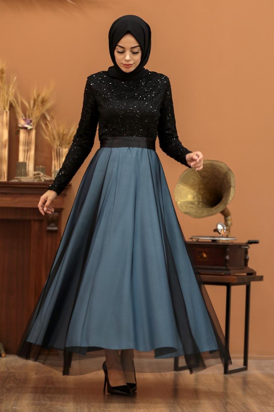 Tesettürlü Abiye Elbise - Dantel İşlemeli Mavi Tesettür Abiye Elbise 50040M