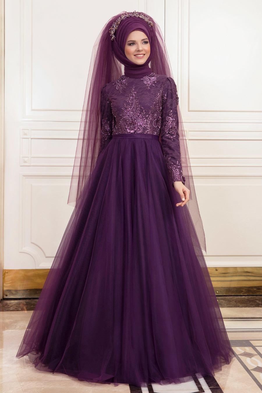 Tesettürlü Abiye Elbise - Dantel İşlemeli Mor Tesettürlü Nişanlık Abiye 190901MOR