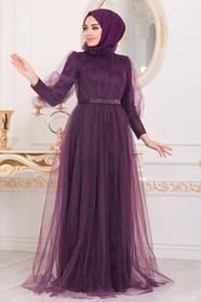 Tesettürlü Abiye Elbise - Dantel İşlemeli Mürdüm Tesettür Abiye Elbise 40440MU - Thumbnail