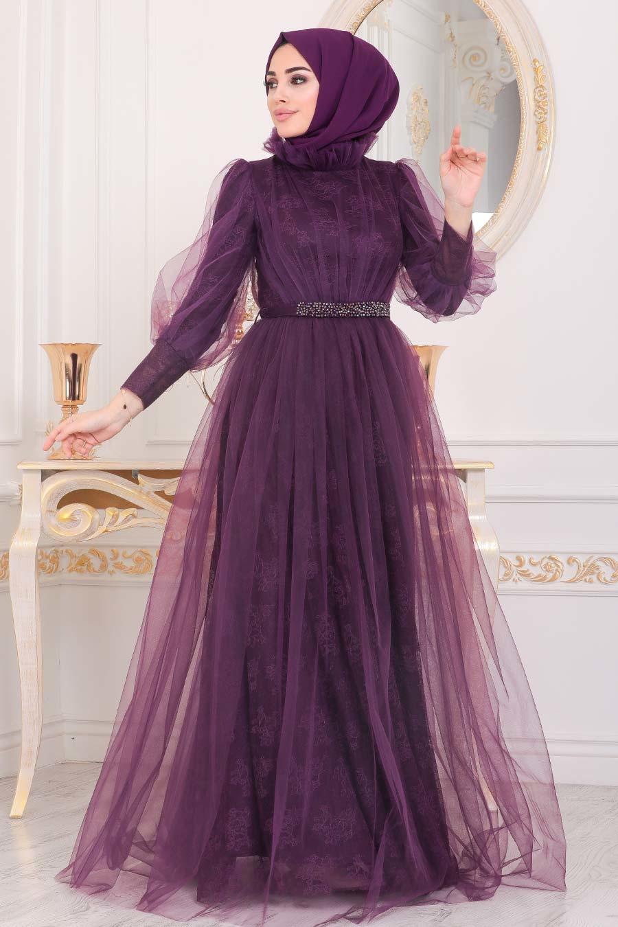 Tesettürlü Abiye Elbise - Dantel İşlemeli Mürdüm Tesettür Abiye Elbise 40440MU