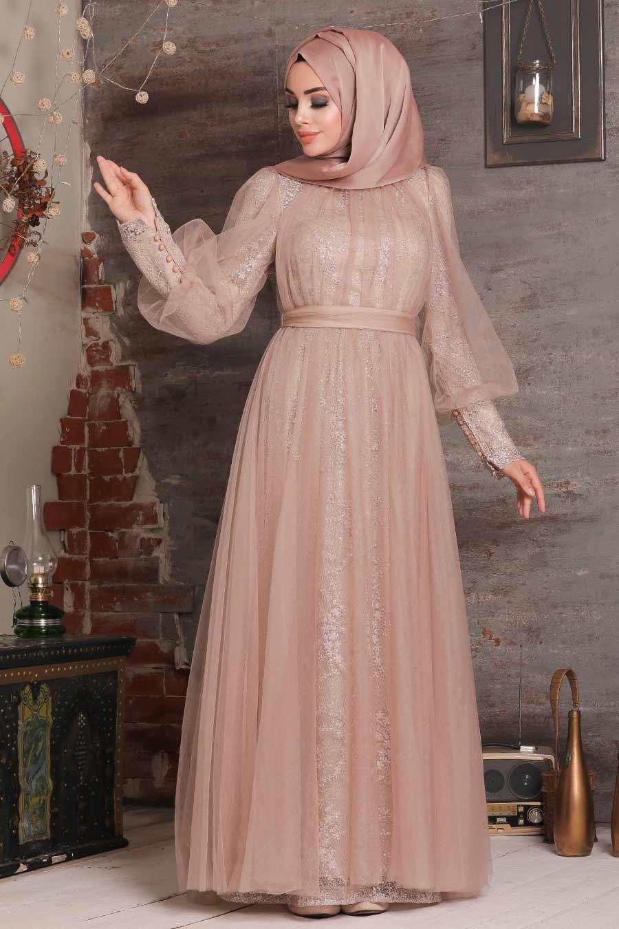 Tesettürlü Abiye Elbise - Dantel İşlemeli Vizon Tesettür Abiye Elbise 21691V