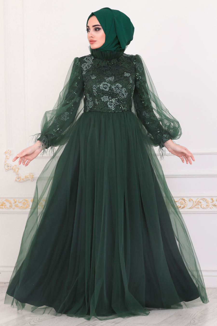 Tesettürlü Abiye Elbise - Dantel İşlemeli Yeşil Tesettür Abiye Elbise 4090Y