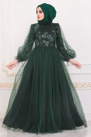 Tesettürlü Abiye Elbise - Dantel İşlemeli Yeşil Tesettür Abiye Elbise 4090Y - Thumbnail