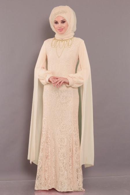 Tesettürlü Abiye Elbise - Dantelli Bej Tesettür Abiye Elbise 40180BEJ