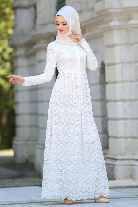 Tesettürlü Abiye Elbise - Dantelli Beyaz Tesettür Abiye Elbise 7774B